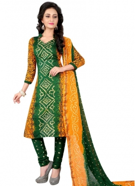 Bandhej Print Work Punjabi Churidar Suit