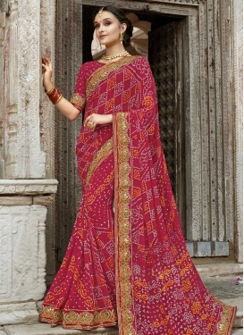 Bandhej Print Work Trendy Classic Saree For Ceremonial