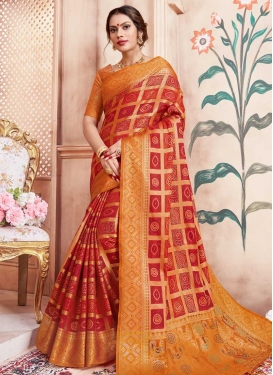 Bandhej Print Work Trendy Saree For Festival