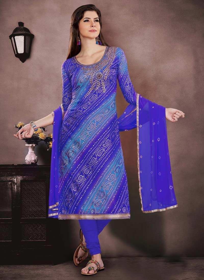 Bandhej Print Work Trendy Straight Salwar Kameez