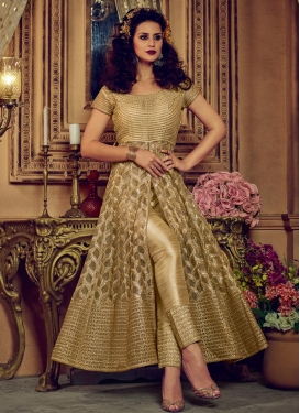 Banglori Silk Beige and Gold Embroidered Work Pant Style Classic Salwar Suit