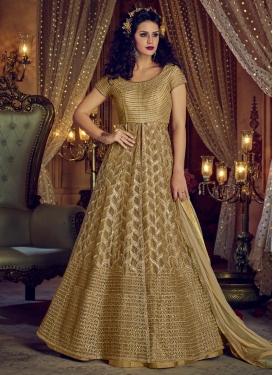 Banglori Silk Beige and Gold Kameez Style Lehenga Choli