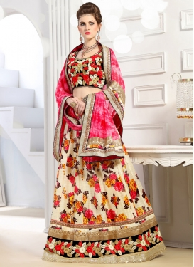 Banglori Silk Black and Cream Digital Print Work Designer Lehenga Choli