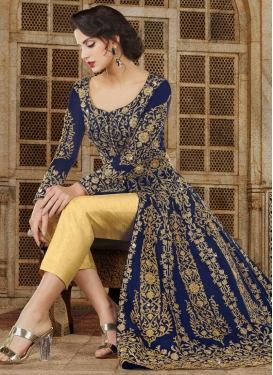 Banglori Silk Cream and Navy Blue Booti Work Pant Style Designer Salwar Kameez