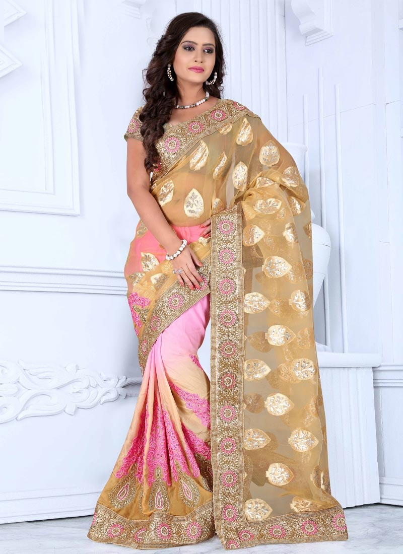 Baronial Beads And Stone Work Half N Half Wedding Saree