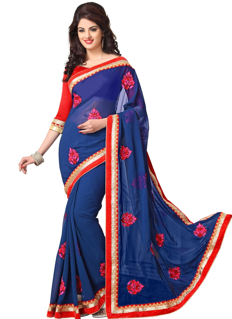 Baronial Booti And Lace Work Party Wear Saree