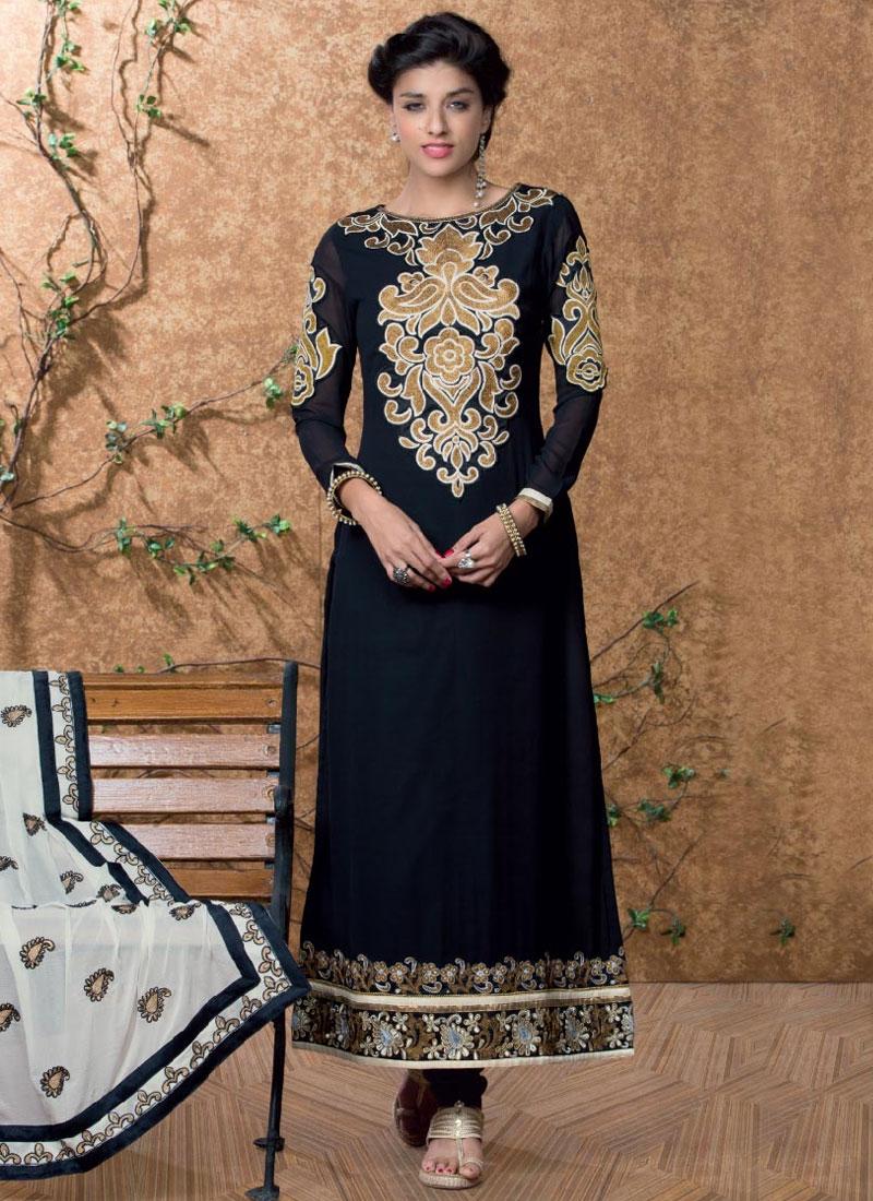 Baronial Booti Work Black Color Pakistani Suit