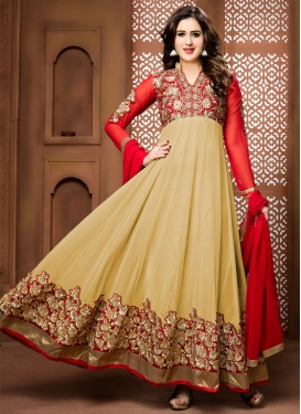 Baronial Booti Work Faux Georgette Long Length Designer Suit