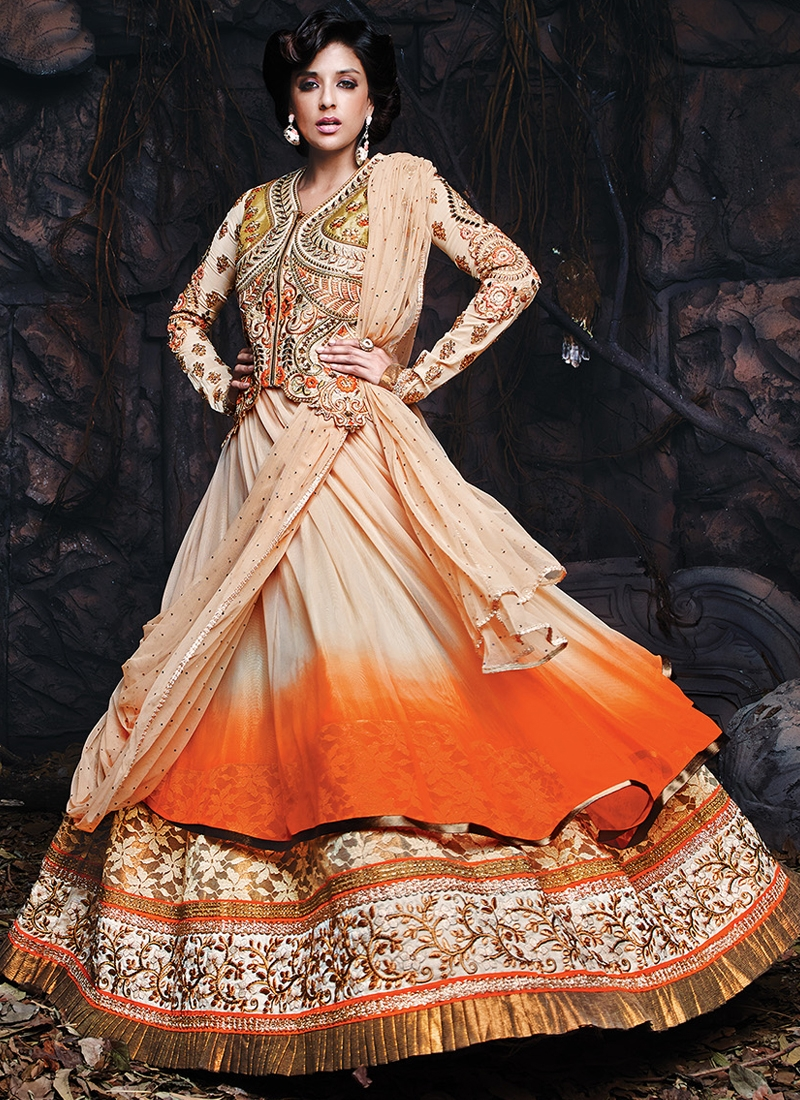 Baronial Cream And Orange Color Designer Lehenga Choli
