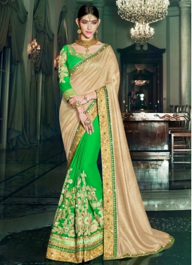 Baronial Embroidered Work Raw Silk Beige and Mint Green Half N Half Saree For Party