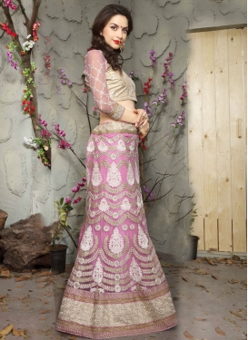 Baronial Embroidery Work Pink Color Bridal Lehenga Choli