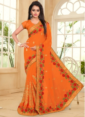 Baronial Faux Georgette Booti Work Trendy Designer Saree For Ceremonial