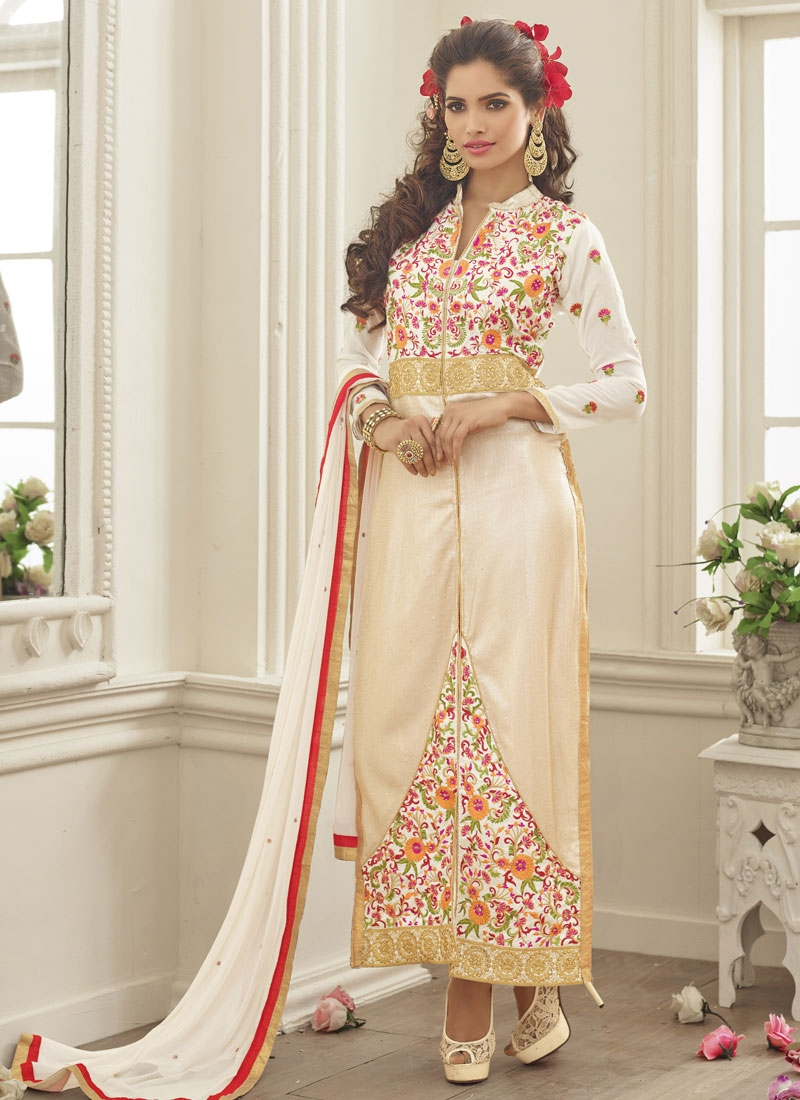 Baronial Floral Work Party Wear Salwar Suit