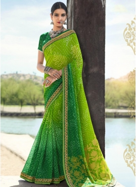 Baronial  Green and Mint Green Traditional Saree