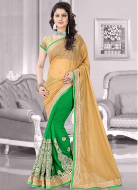 Baronial Green Color Faux Chiffon Half N Half Designer Saree