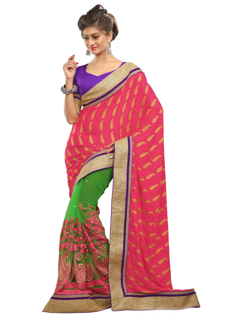 Baronial Hot Pink Color Viscose Half N Half Wedding Saree