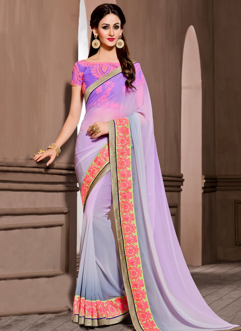 Baronial Lace Work Lavender Color Party Wear Saree
