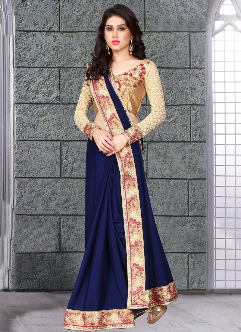 Baronial Navy Blue Color Party Wear Saree