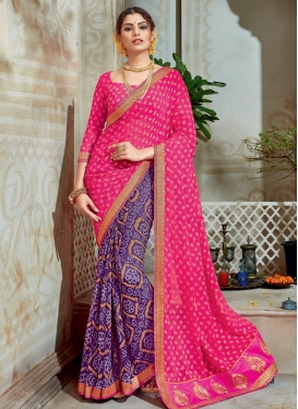 Baronial Purple and Rose Pink Bandhej Print Work Brasso Georgette Half N Half Saree