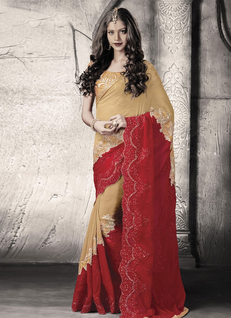 Baronial Red Color Stone Work Wedding Saree