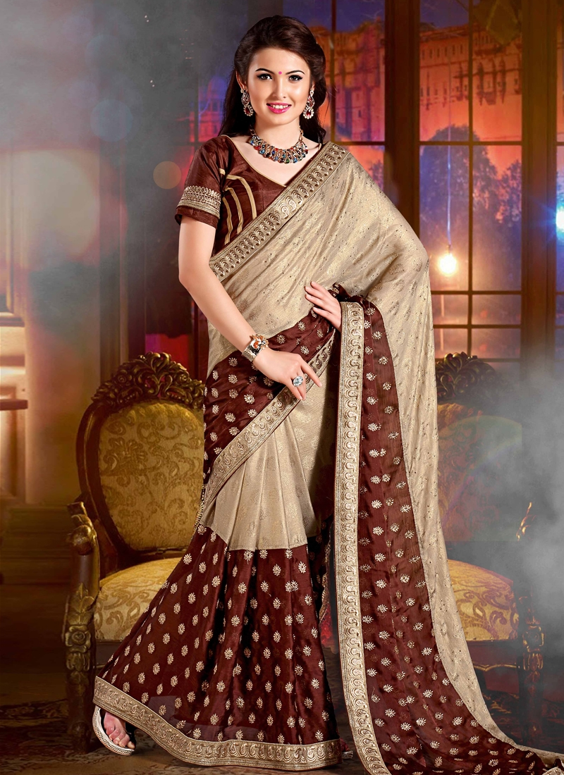 Baronial Resham Work Party Wear Saree