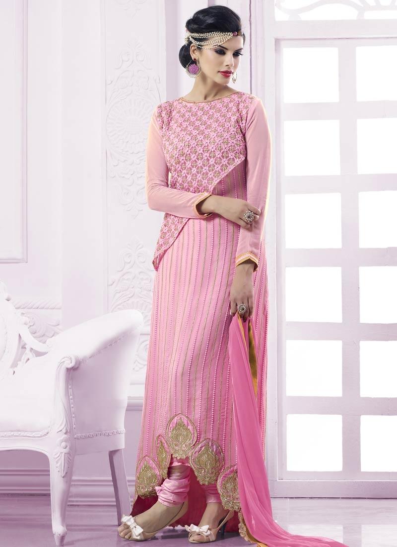 Baronial Resham Work Pink Color Designer Salwar Suit