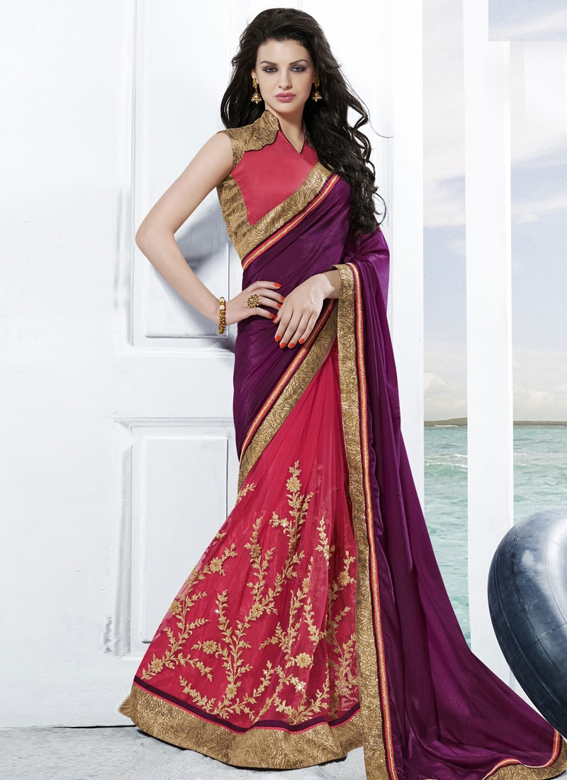 Baronial Rose Pink Color Half N Half Wedding Saree
