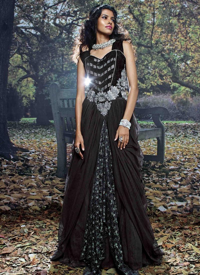 Baronial Stone Work Floor Length Designer Readymade Gown