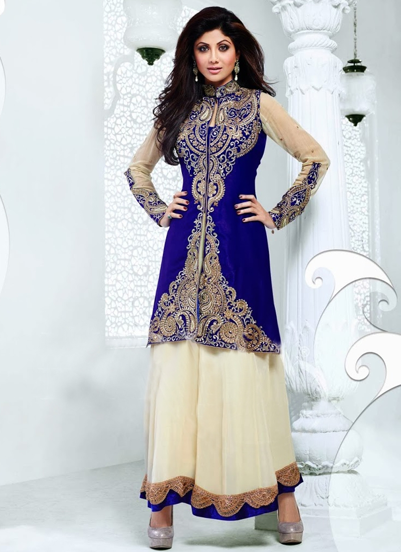 Beads Enhanced Shilpa Shetty Bollywood Salwar Suit