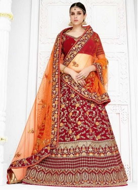 Beads Work  A Line Lehenga Choli