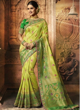 Beads Work Aloe Veera Green and Green Trendy Classic Saree