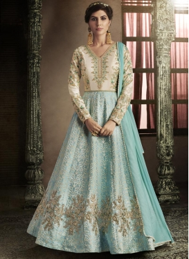 Beads Work Aqua Blue and Off White Floor Length Anarkali Salwar Suit