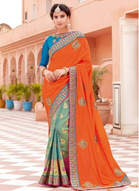 Beads Work Art Silk Designer Half N Half Saree