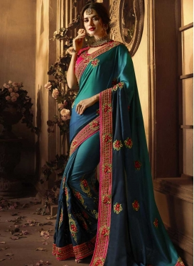 Beads Work Art Silk Designer Traditional Saree For Ceremonial
