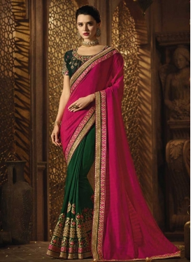 Beads Work Art Silk Half N Half Designer Saree