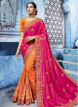 Beads Work Art Silk Half N Half Designer Saree For Bridal