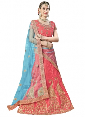 Beads Work Art Silk Light Blue and Salmon Designer A Line Lehenga Choli