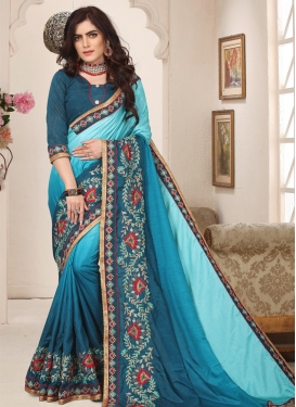 Beads Work Art Silk Teal and Turquoise Designer Contemporary Saree