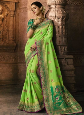 Beads Work Art Silk Traditional Designer Saree For Bridal