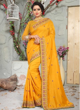 Beads Work Art Silk Traditional Saree