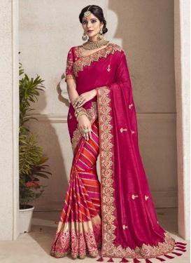 Beads Work Banarasi Silk Half N Half Designer Saree