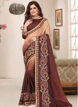 Beads Work Beige and Coffee Brown Traditional Designer Saree