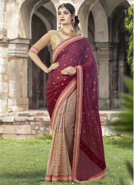 Beads Work Beige and Maroon Half N Half Trendy Saree