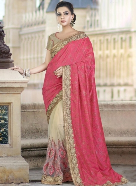 Beads Work Beige and Rose Pink Half N Half Trendy Saree