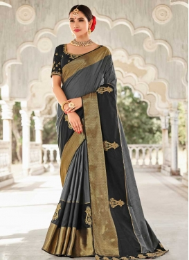 Beads Work Black and Grey Contemporary Style Saree