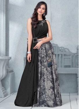 Beads Work Black and Grey Lycra Trendy Designer Lehenga Choli