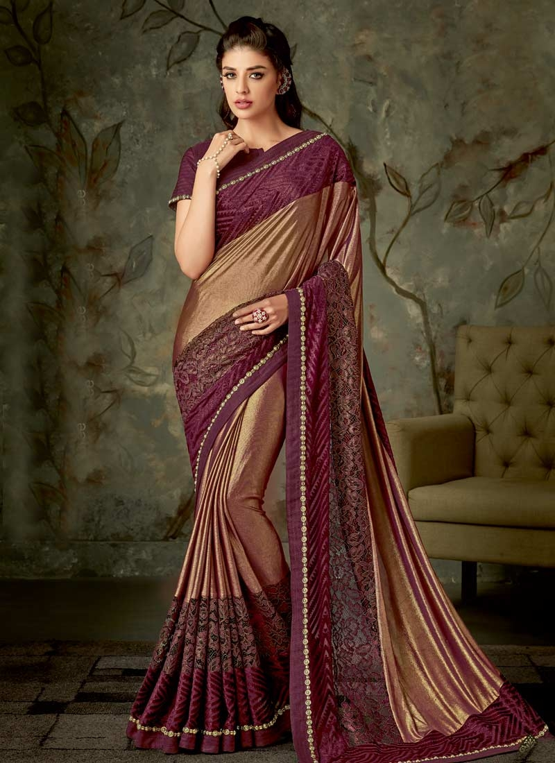 Beads Work Brown and Maroon Designer Traditional Saree