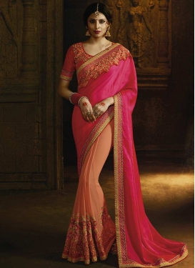 Beads Work Chiffon Satin Designer Half N Half Saree