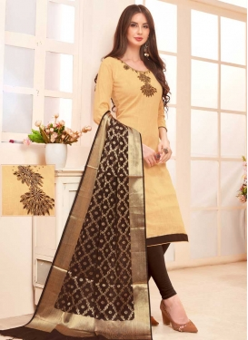 Beads Work Coffee Brown and Cream Churidar Suit