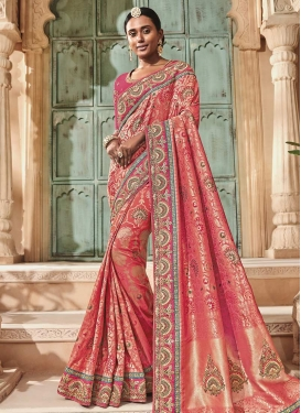 Beads Work Contemporary Saree For Bridal